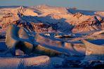 Island im Winter – Erstes Morgenlicht auf der Gletscherlagune: