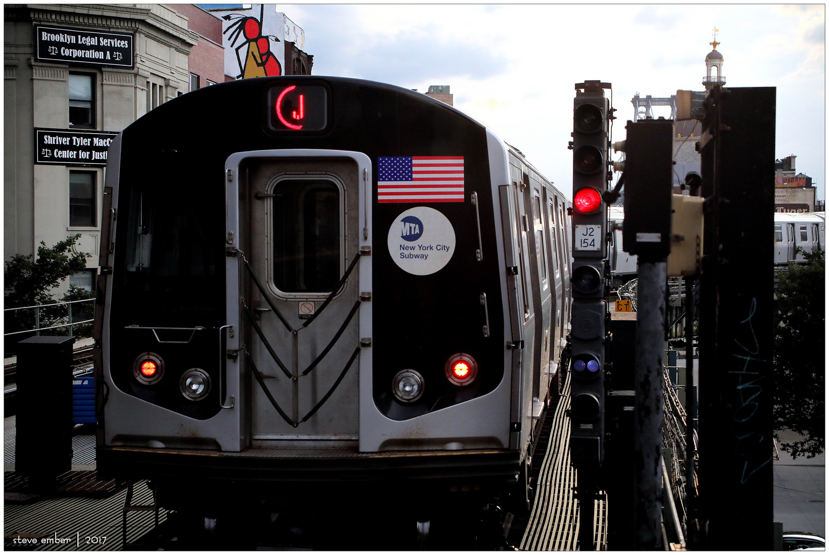 J Train Departing Marcy Avenue