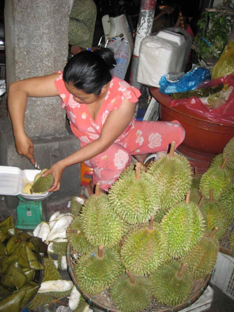 Jackfrüchteverkauf in der Altstadt Hanoi