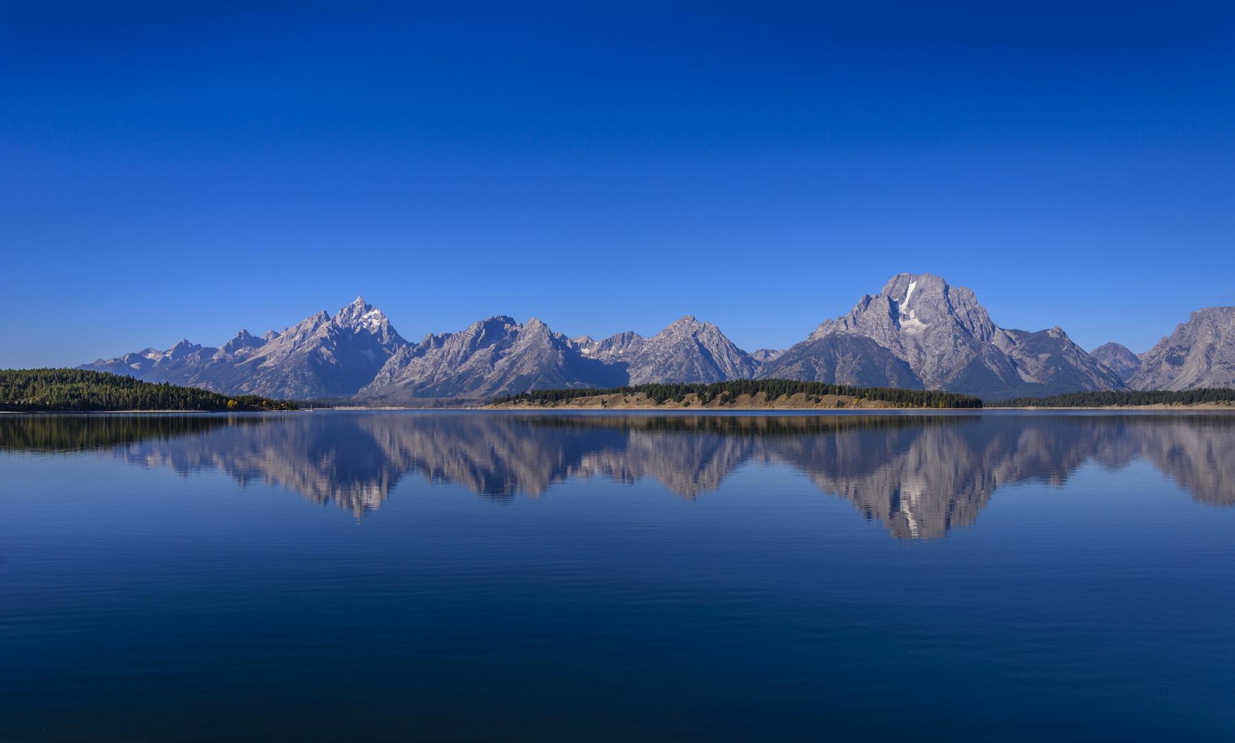 Jackson Lake gegen Teton Range, Wyoming, USA