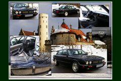 Jaguar Collage vor Schloß Lichtenstein