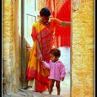 Jaisalmer -Scènes de vie;  sympathique rencontre dans une rue de la citadelle