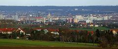 Januarfernblick ins Dresdner Zentrum, mit der Frauenkirche in zentraler Position...