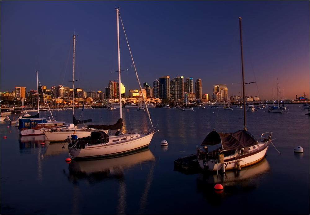 January evening in the Bay of San Diego