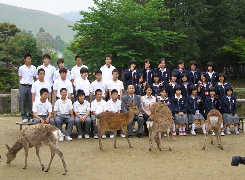 Japanese school class posing