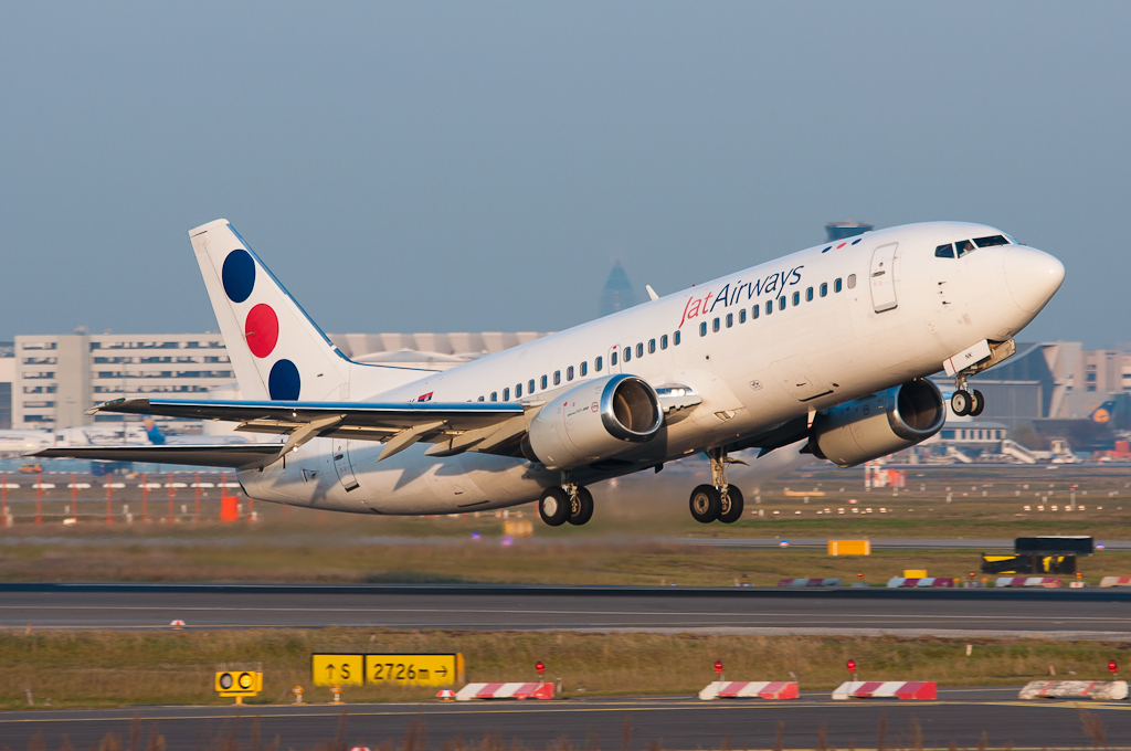 JAT B737-300 YU-ANK departing RWY18