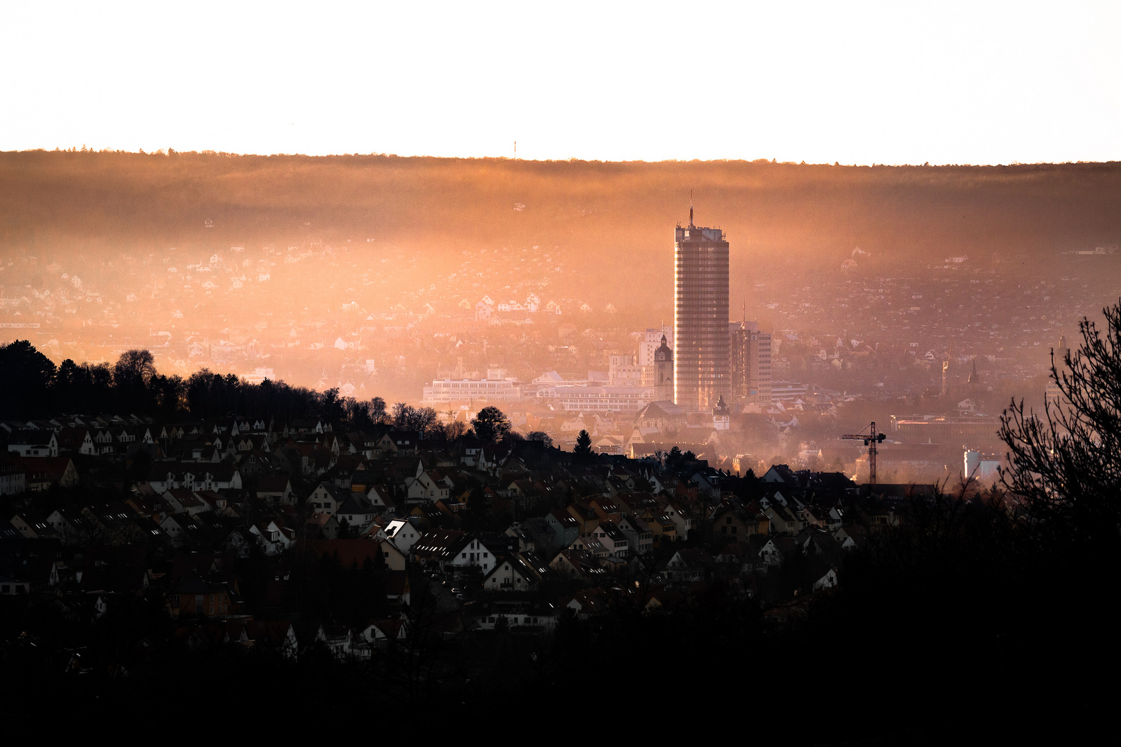Jena mit Smog am Neujahrstag