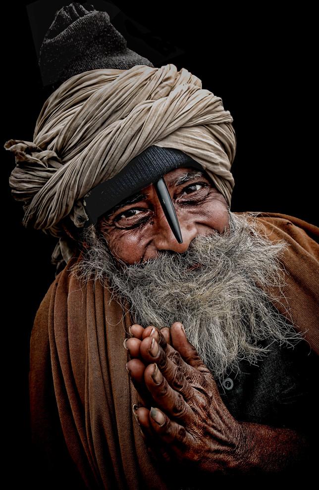 jovial pilgrim in Haridwar