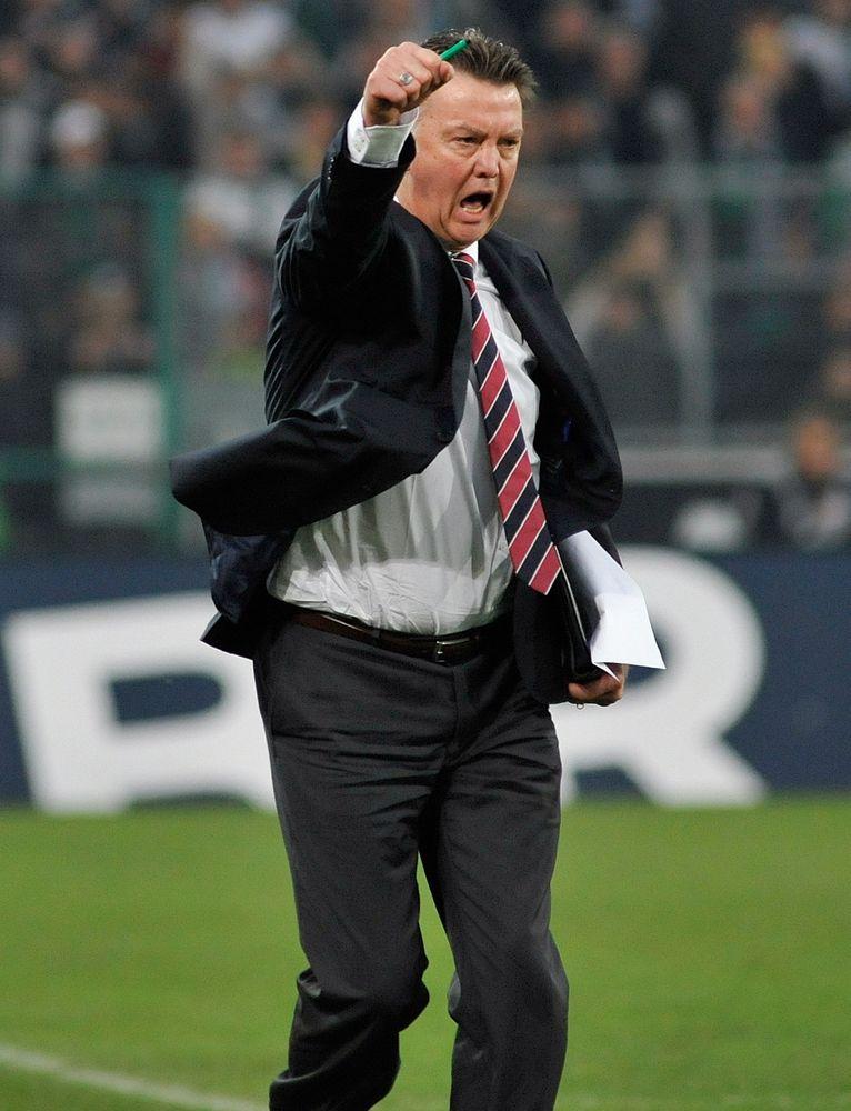 Jubel bei Bayern-Trainer Louis van Gaal
