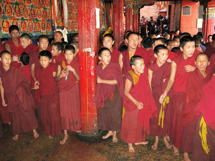 Junge Mönche im Tashilunpo Kloster voller Lebensfreude