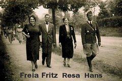Juni 1939 in Berlin; Freia, Fritz, Resa, Hans.