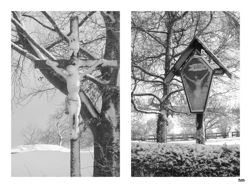 Kalte Korpora - verschneite Wegkreuze im Allgäu