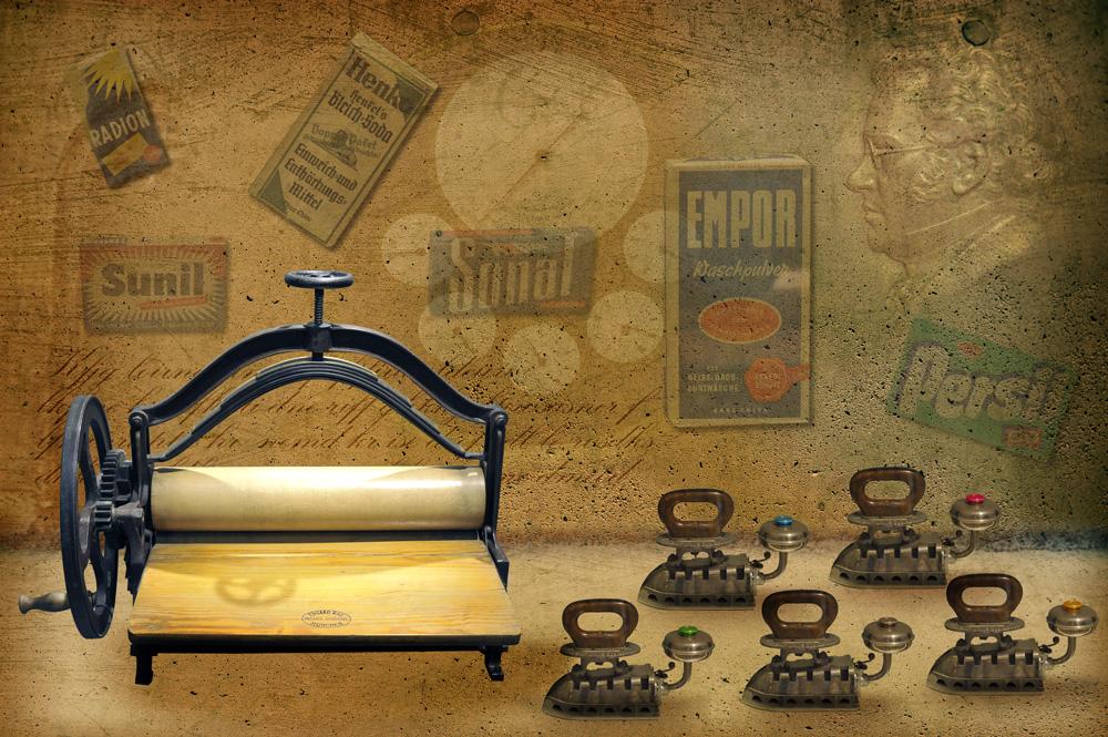 Kampf der 30 iger Jahre - Bügeleisen gegen Bügelmaschine