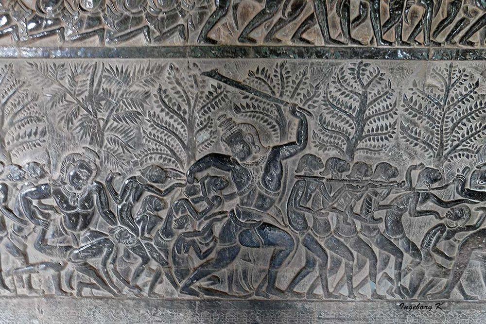 Kampfszene an der Tempelwand - Angkor-Wat