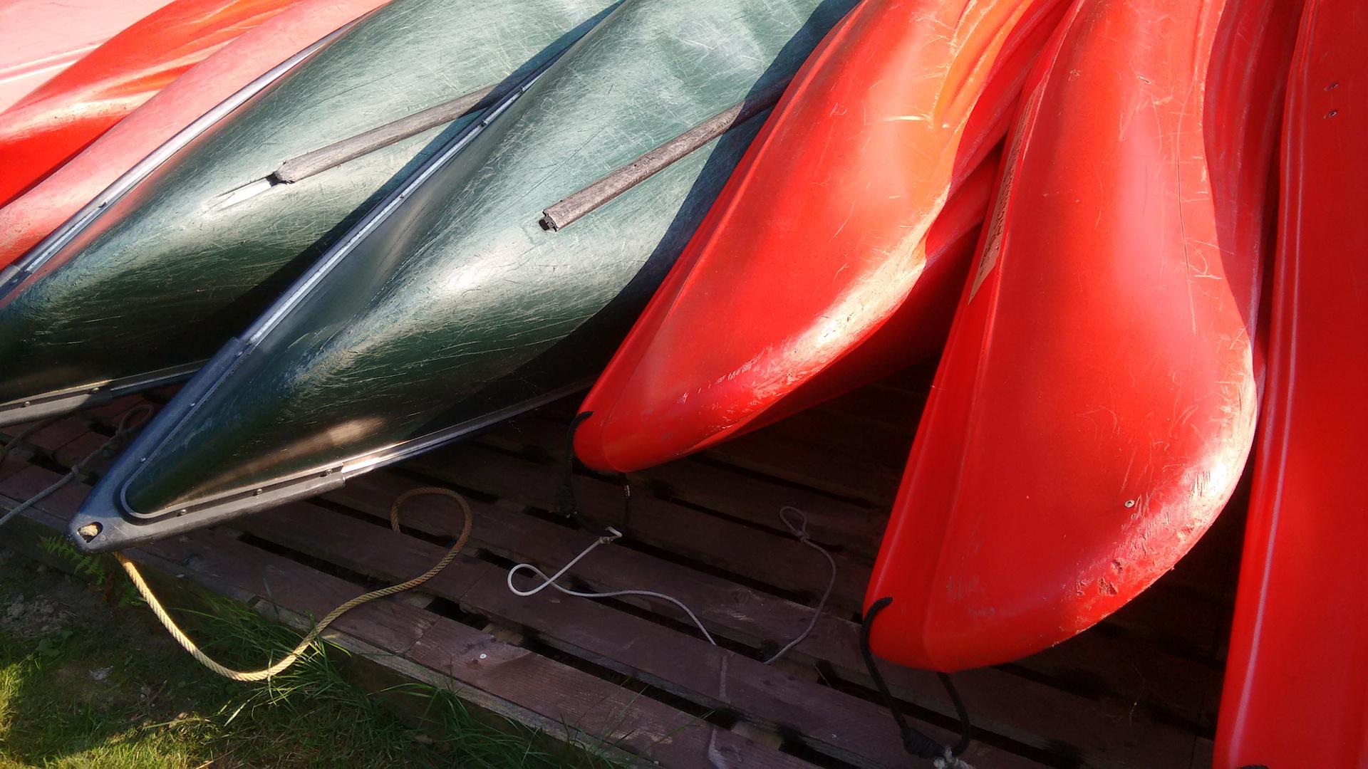Kanus auf dem Trockenen