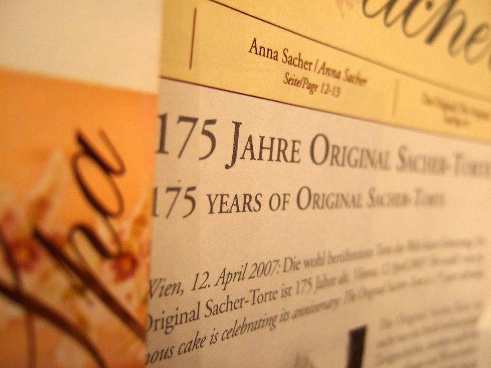 Karte im Cafe Sacher