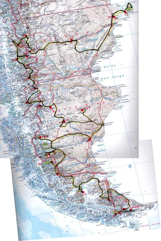 Karte zur Dia Show Feuerland Patagonien