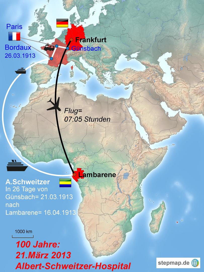 "Karte_Mit  Schiff + Flugzeug_Afrika_Gabun ""Albert-Schweitzer Hospital"""