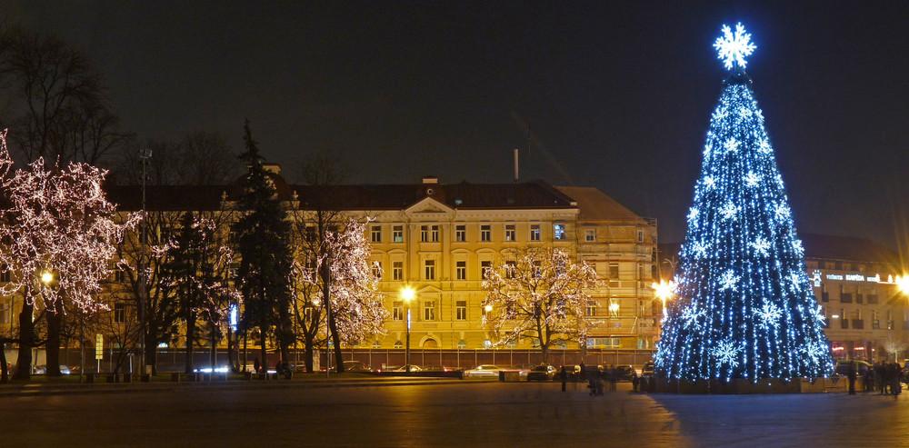 Kathedralenplatz in Vilnius zur Vorweihnachtszeit 2008