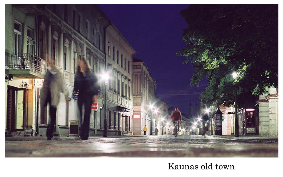 Kaunas old town at night