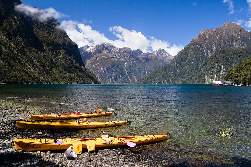 Kayaking at Milford Sound, Fiordland National Park, South Island