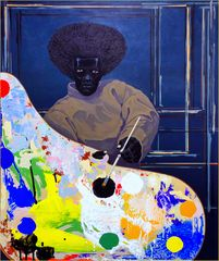 Kerry James Marshall: Ohne Titel, 2008, Acryl auf PVC-Panel (This work is a study in blackness)