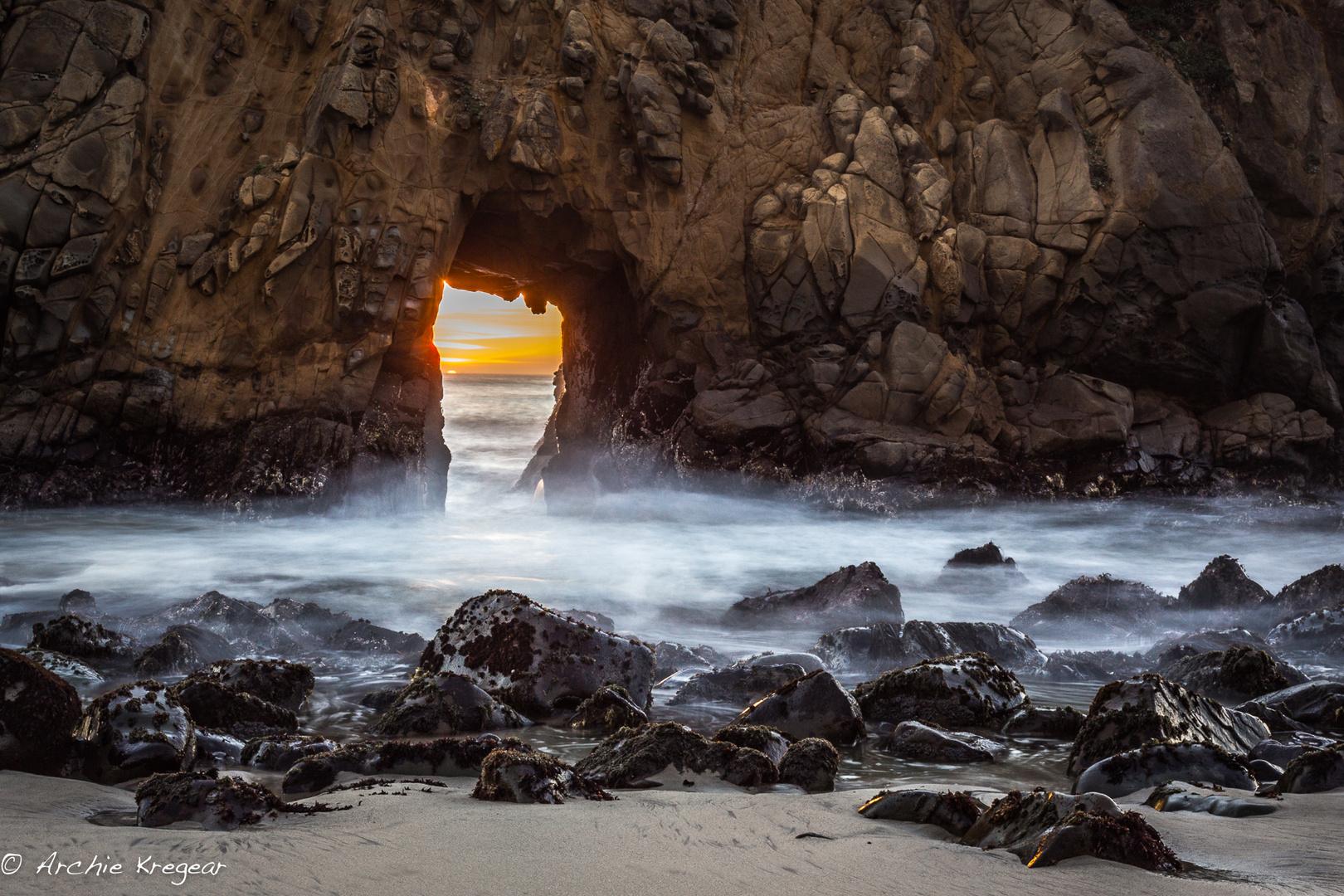 Keyhole at Pfieffer Beach sunset