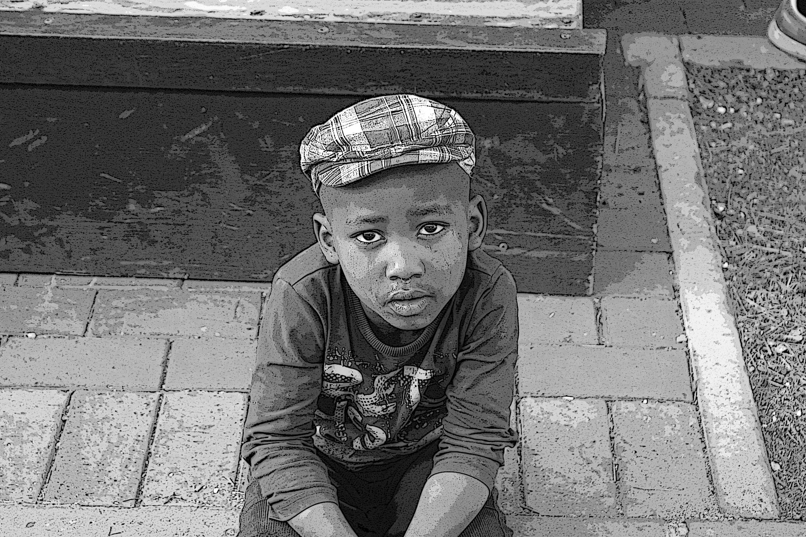 Kid In Black And White