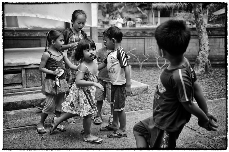 Kids play in a Temple