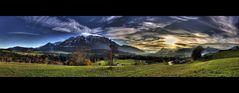 Kiefersfelden in Richtung Kufstein im Abenddunst
