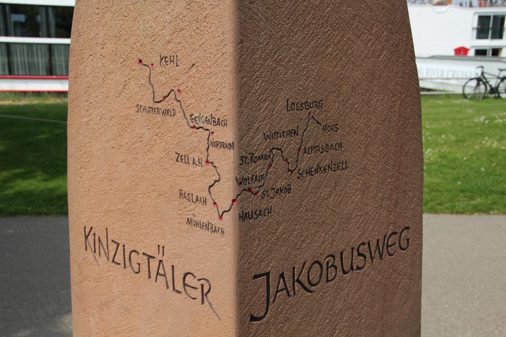 Kinzigtäler Jakobusweg Gedenkstein in Kehl am Rhein