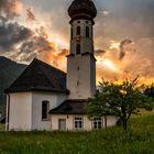 Kirche Gortipohl im Abendrot