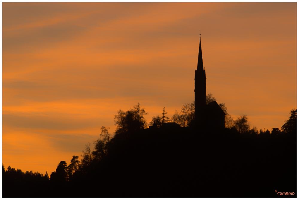 Kirche Tamins im Abendrot 2