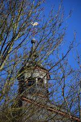 Kirchturm hinter Astwerk versteckt
