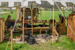 Kleiner Wachtrupp vor dem Zelt bei den Südtiroler Ritterspielen