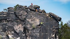 Kletterer am Plattenstein