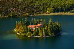 Klosterinsel Visovac, Nationalpark Krka, Dalmatien, Kroatien