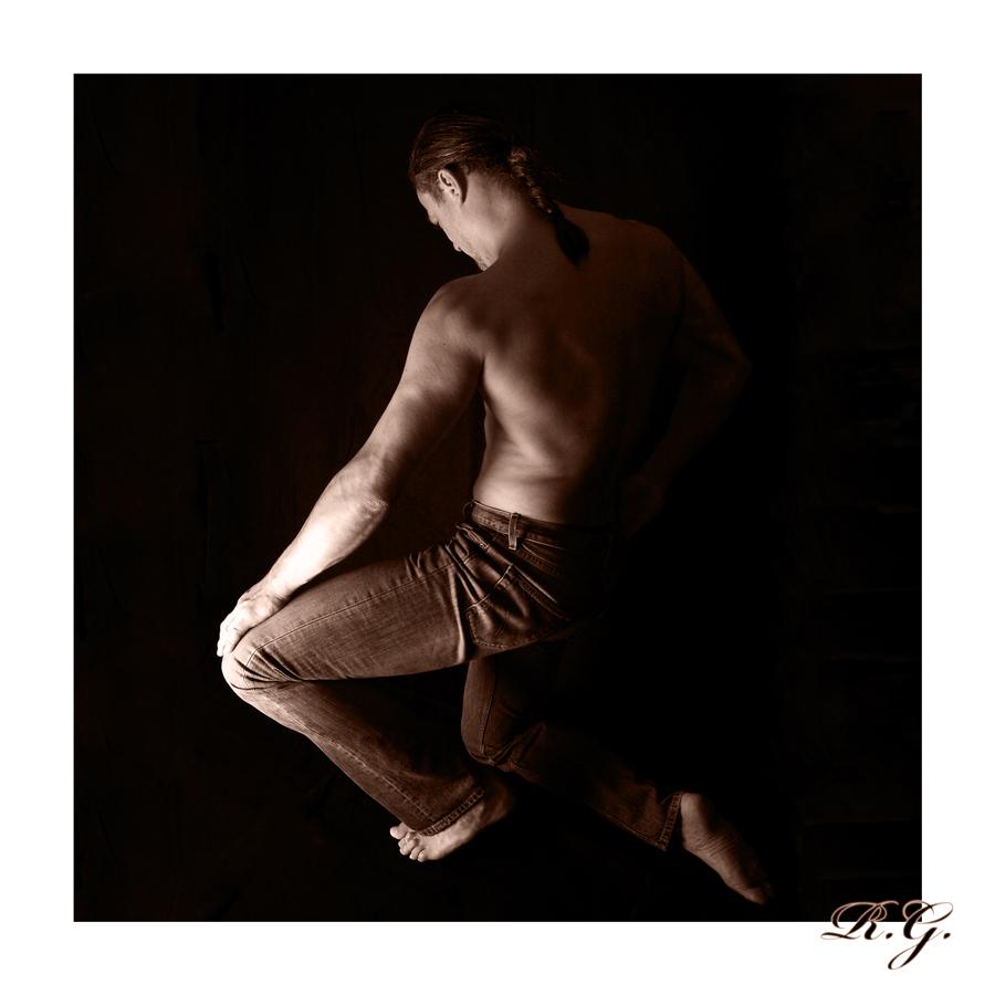 kneeling down