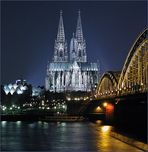 Kölner Dom mit Hohenzollernbrücke...
