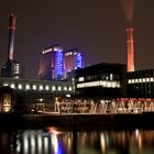 Kohlekraftwerk Westhafen Frankfurt bei Nacht