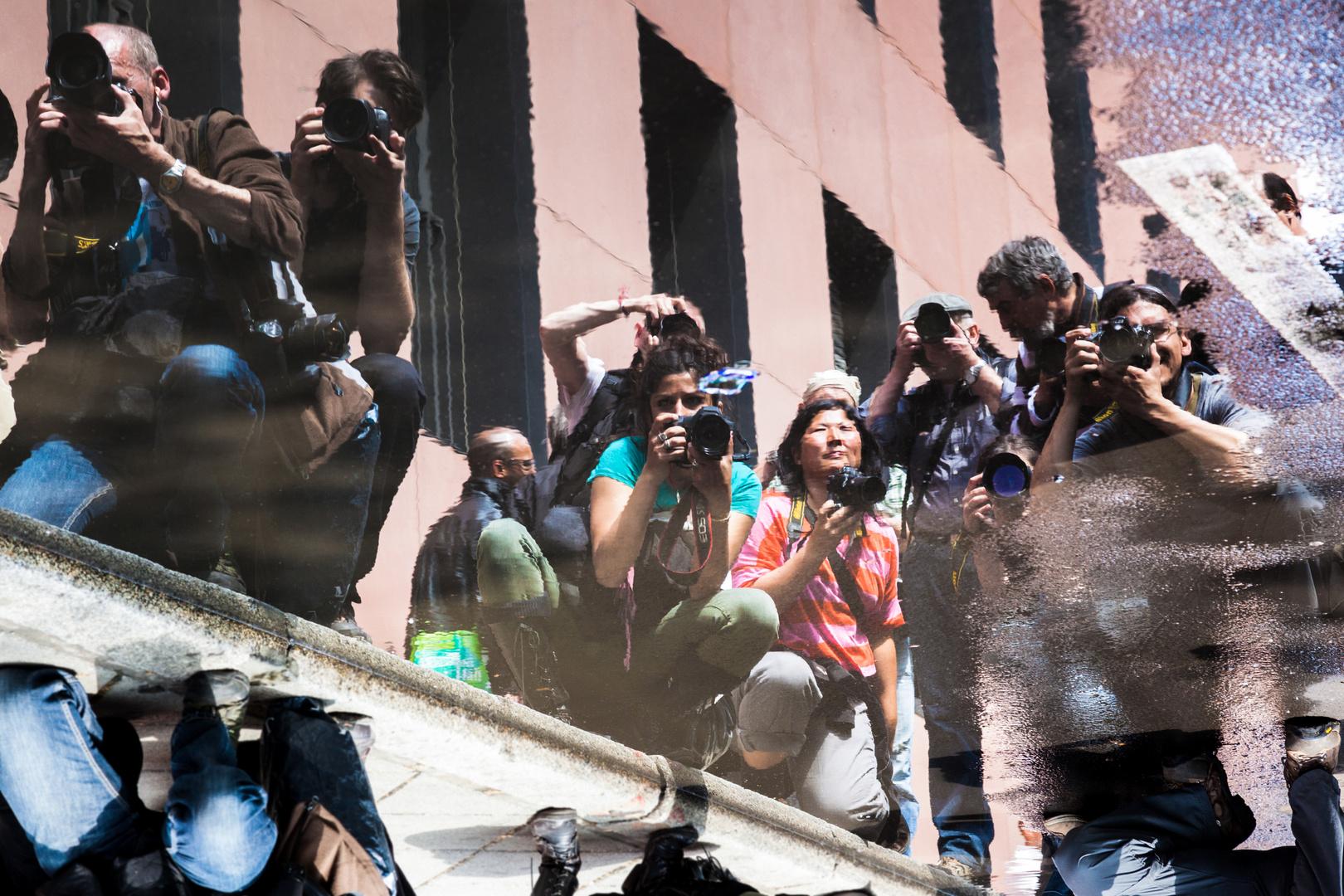 Kollegen bei der Arbeit - Blockupy Frankfurt 2012