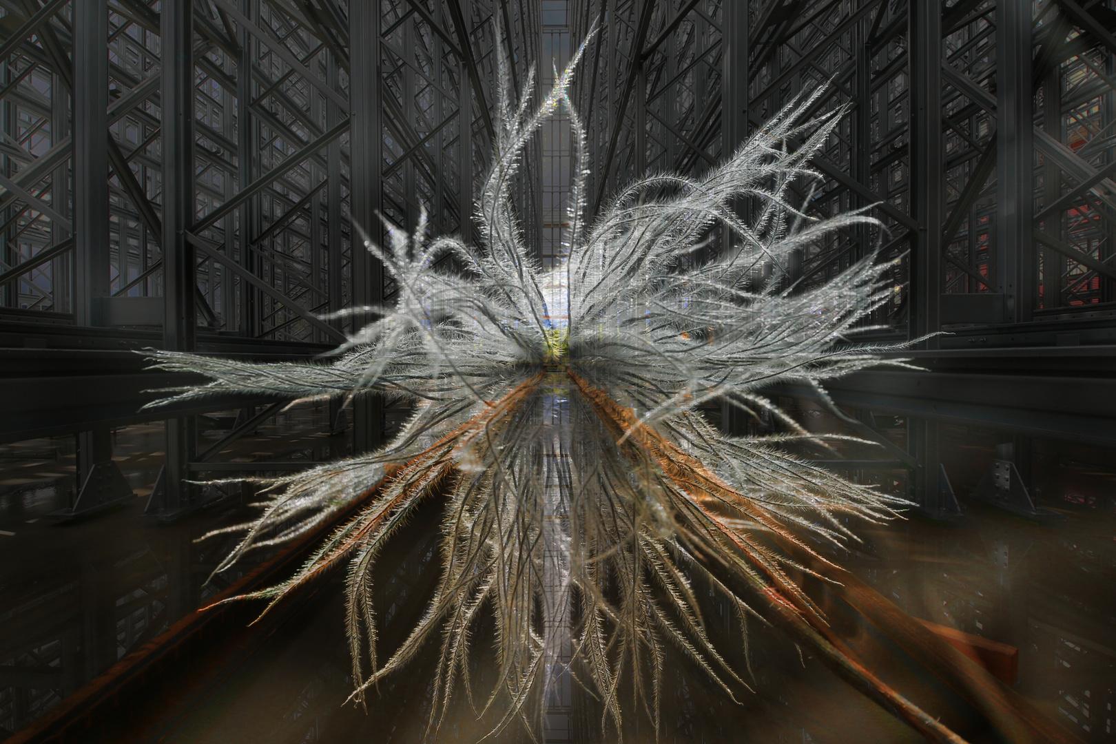 Komposition von Struktur aus Technik und Natur