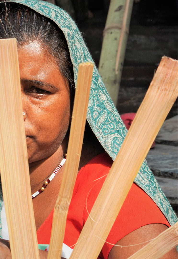 Korbflächterin in Udaipur