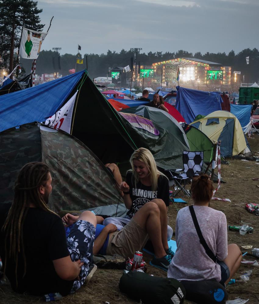 Kostrzyn, Przystanek Woodstock August 2014: Zelte und Bühne.