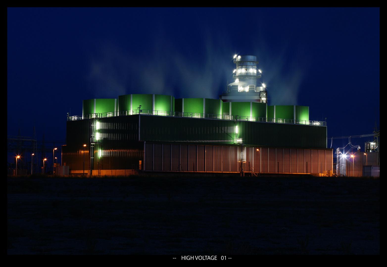 Kraftwerk Hamm Uentrop bei Nacht - High Voltage 01