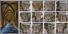 Kreuzgang mit den künstlerisch gestalteten Kapitellen der Benediktinerabtei St. Matthias in Trier.