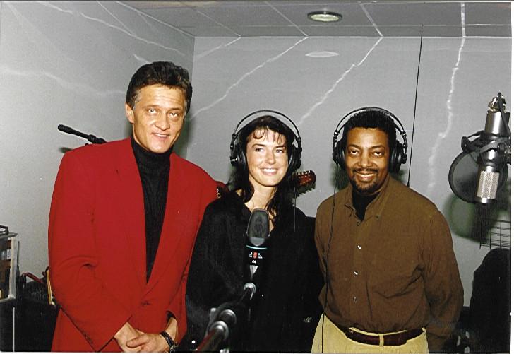 Künstler Manager Klaus Dieter Schmidt mit Angela Gerhold und dem US Entertainer Joe Bourn