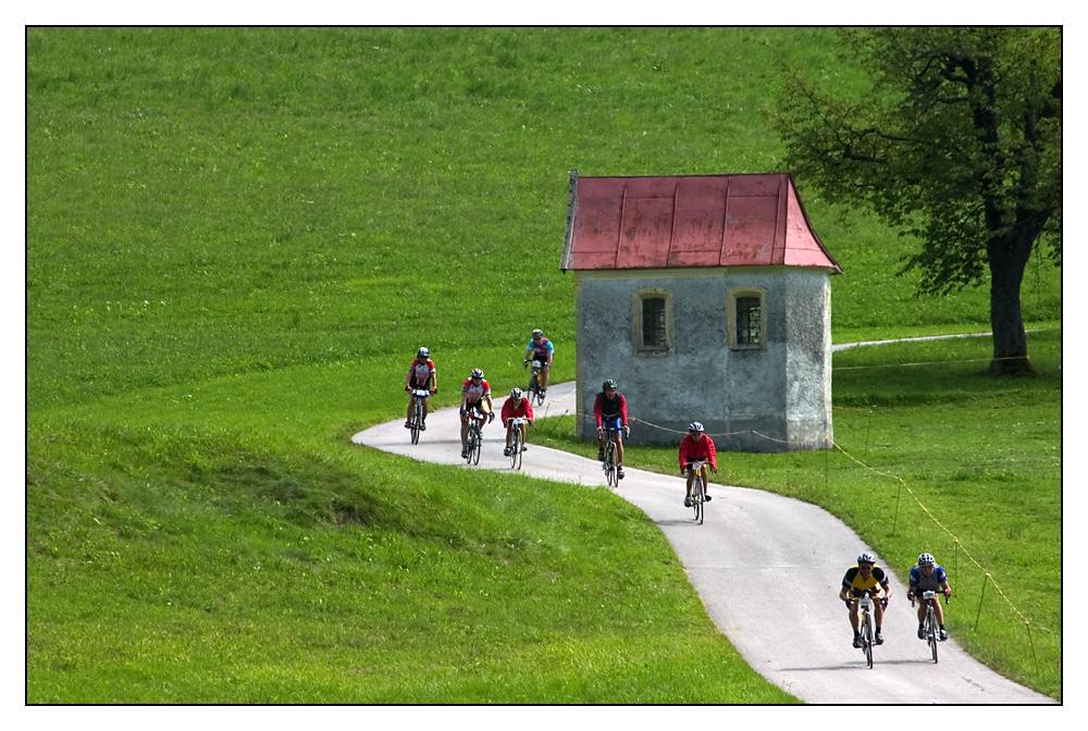 kurvenreiches Radrennen