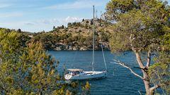 Kurz bevor der Fluss Krka die Adria erreicht