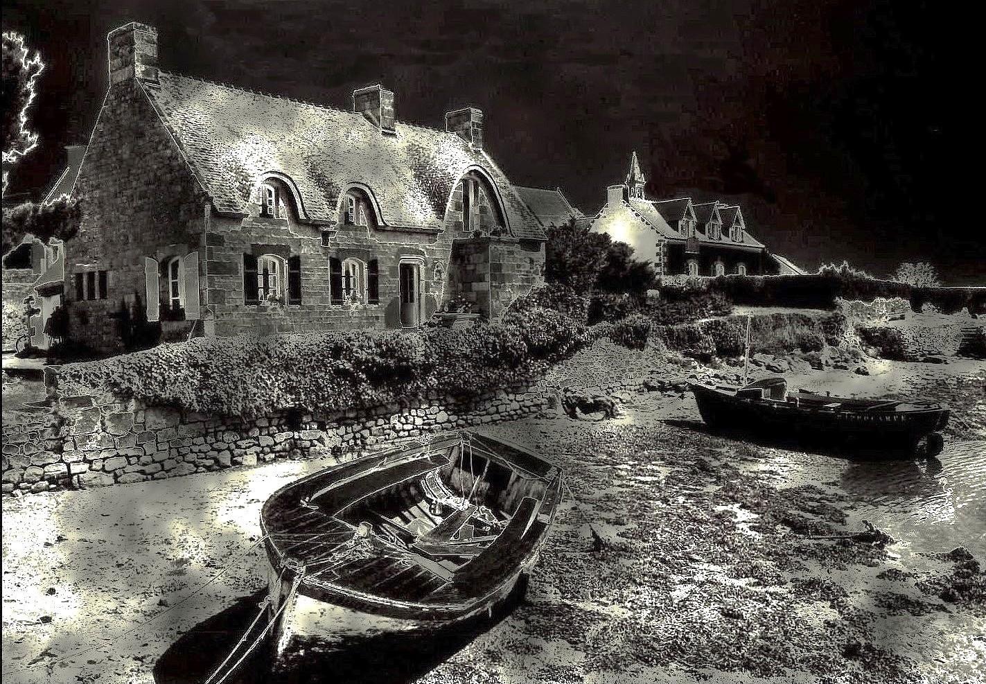 La chaumière et les barques